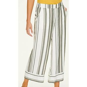 ANN TAYLOR LOFT STRIPED WIDE LEG CROP PANTS SMALL